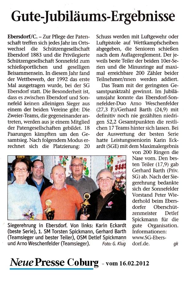 Patenschießen vom 28.01.2012 in Ebersdorf mit der Priv. SG Sonnefeld