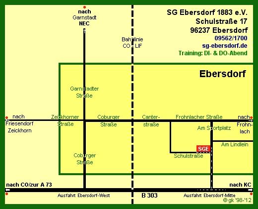 Ortsskizze Ebersdorf - Lage des Schützenhauses