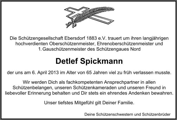 Die Ebersdorfer Schützen trauern um ihren Detlef.