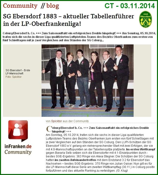 03.11.2014 - CT-Community: SGE – aktueller Tabellenführer in der LP-Oberfrankenliga! (Bericht/Foto: G. Klug)
