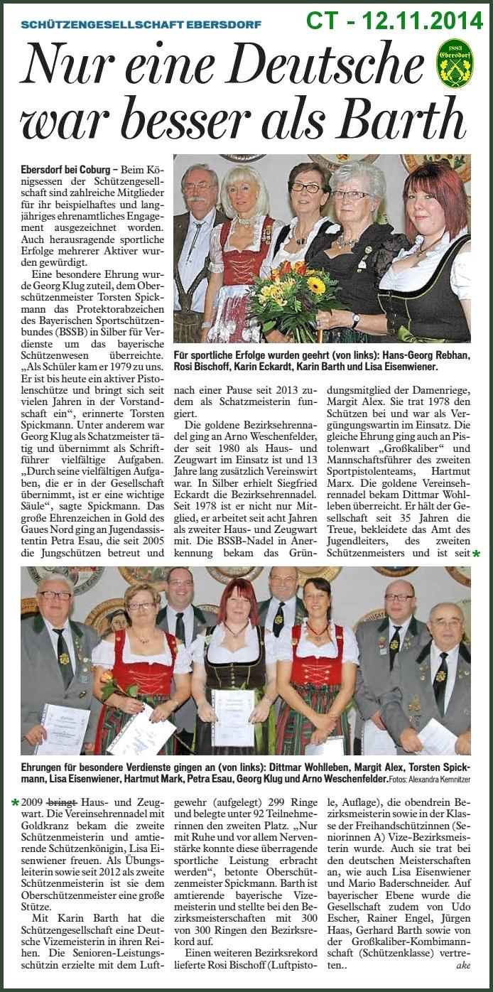 Königsessen der SG Ebersdorf – Coburger Tageblatt vom 12.11.2014